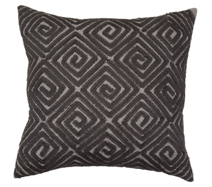 Hex Swirl 18x18 Pillow, Gray