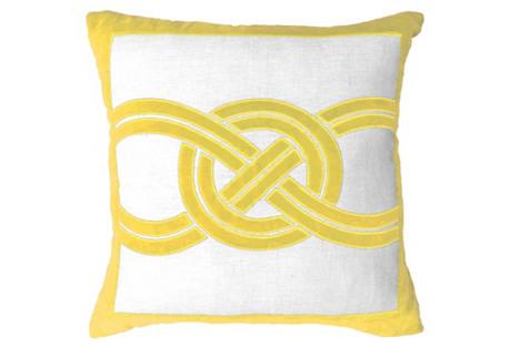 Knot 21x21 Velvet- Linen Pillow,  Yellow