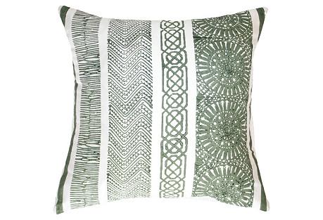 Paths 19x19 Silk Pillow, Celadon