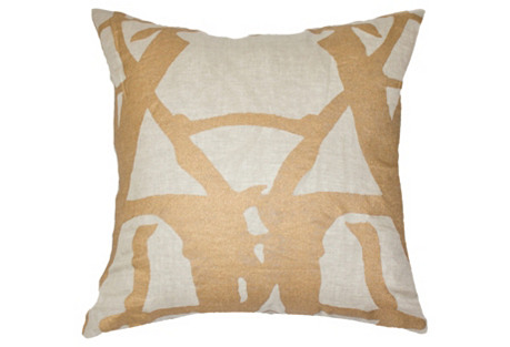 Twigs 22x22 Pillow, Gold