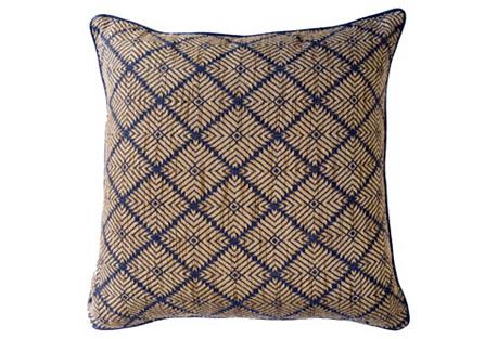 Phulkari Weave 22x22 Pillow, Navy
