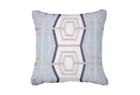 Outdoor Rattan 19x19 Pillow, Light Blue