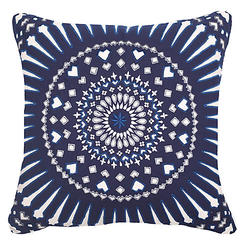 Outdoor Mayan Sphere 22x22 Pillow, Navy