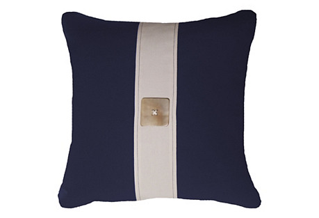 Outdoor Horn Button 22x22 Pillow, Navy