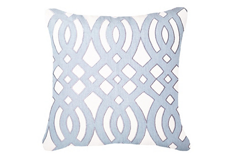 Diamond Scroll 22x22 Pillow, Light Blue
