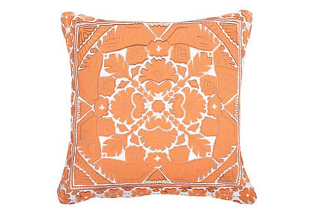 Outdoor Kilim 22x22 Pillow, Orange