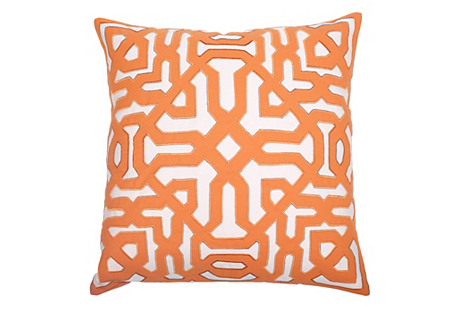 Outdoor Moroccan 22x22 Pillow, Orange