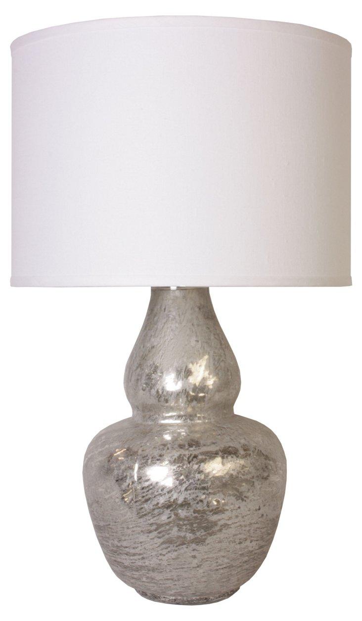 Gourd Table Lamp, Textured Mercury