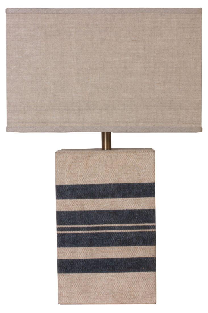 Parallax Striped Navy Lamp, Natural
