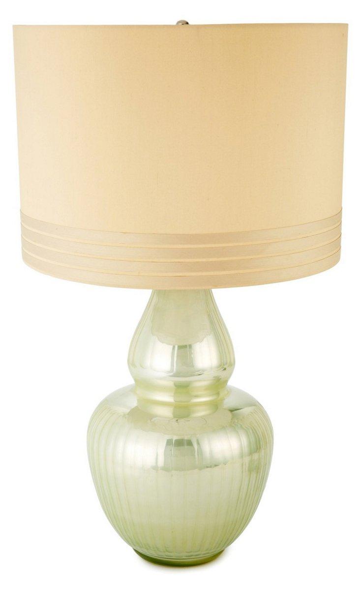 Gourd Table Lamp, Pearl Enamel