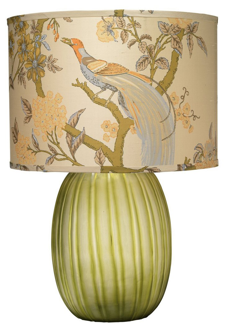 Ribbon Etched Table Lamp, Olive/Birds