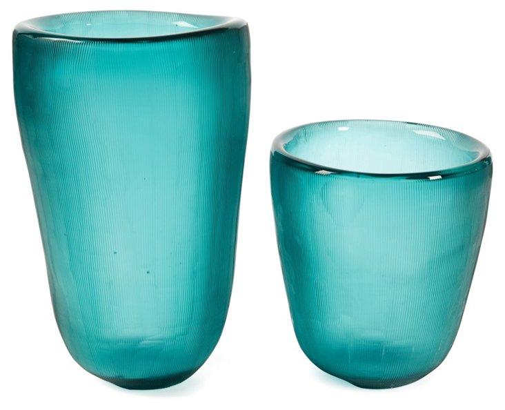 Set of 2 Etched Slump Vases, Aqua