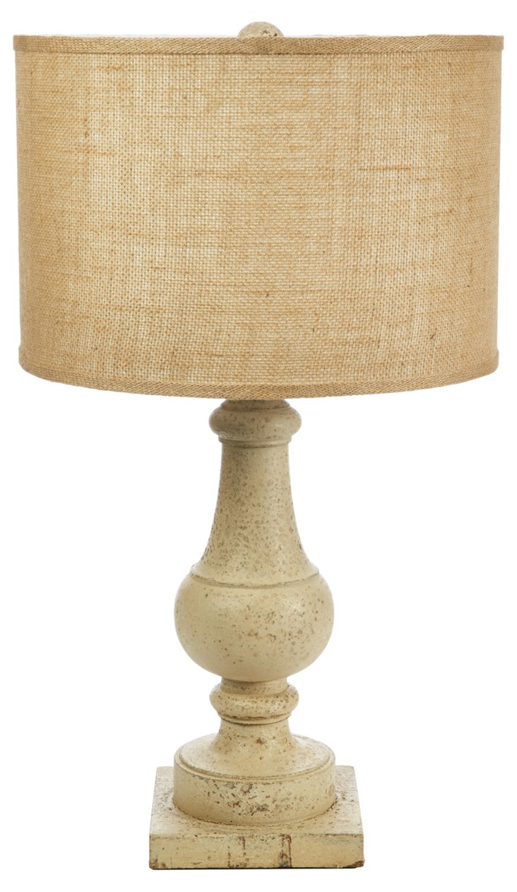 French Country Table Lamp, Distressed