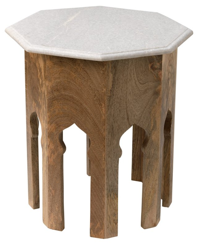 Kayla Side Table, Natural/White