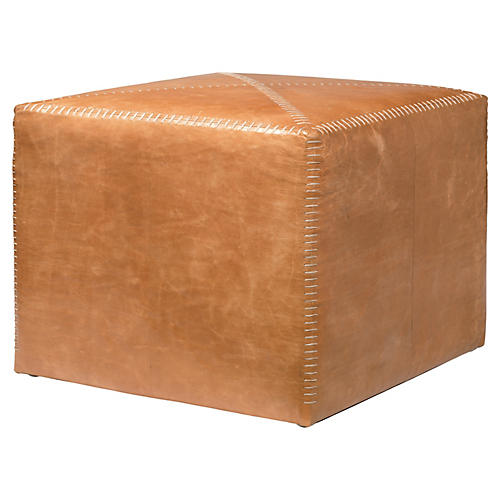 Emerson Leather Pouf, Coffee