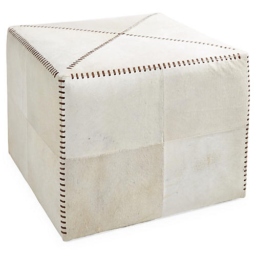 Gage Hide Pouf, White