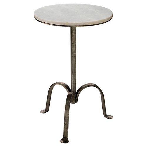 Clementine Side Table, White/Gunmetal