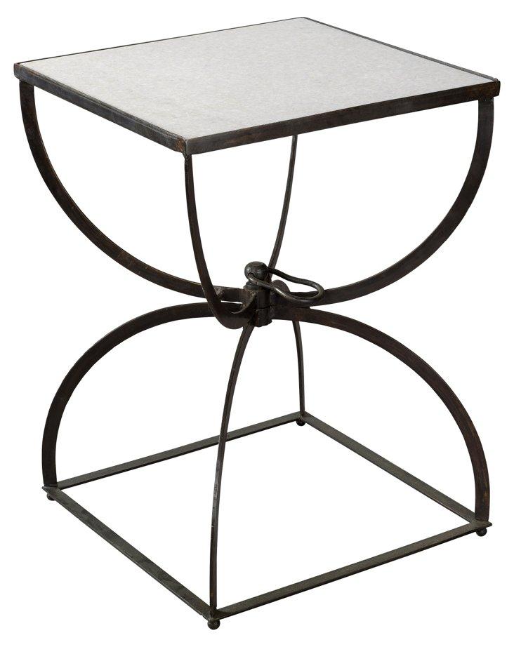 Pency Side Table, White/Gunmetal