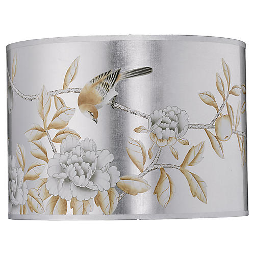 Drum Shade, Hand Painted Platinum