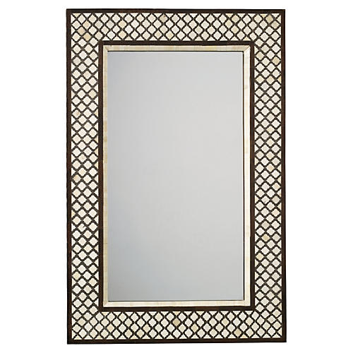 Mughal Bone Wall Mirror, Camel/Chocolate