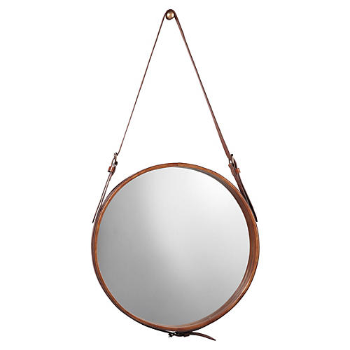 "Round 26"" Leather Wall Mirror, Natural"