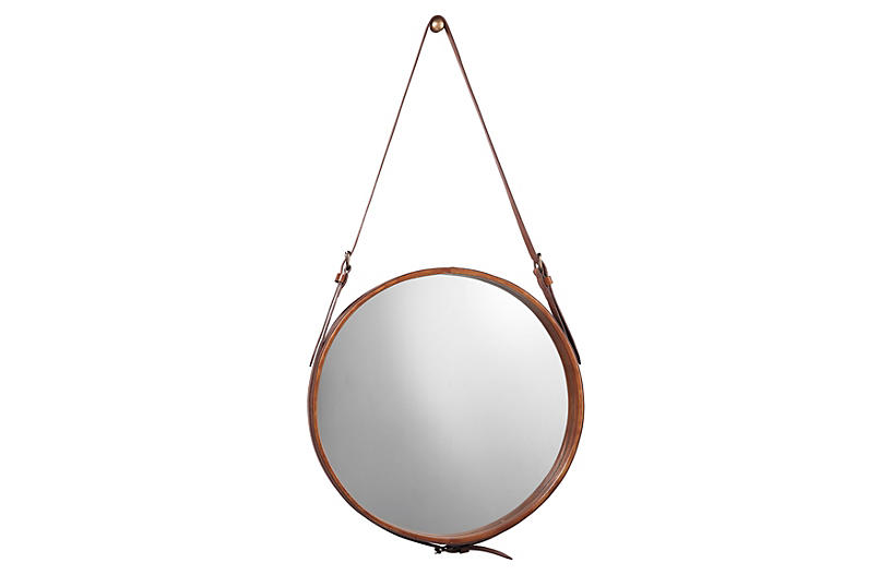 Round Wall Mirror, Brown