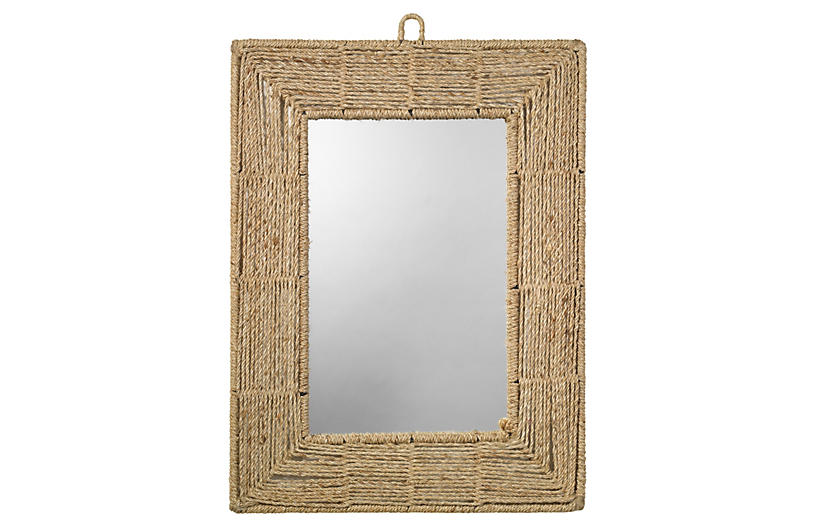 Rectangle Jute Mirror, Natural