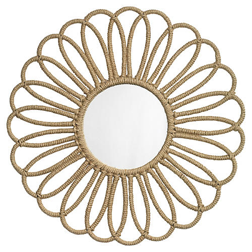 "Jute 36"" Flower Wall Mirror, Natural"