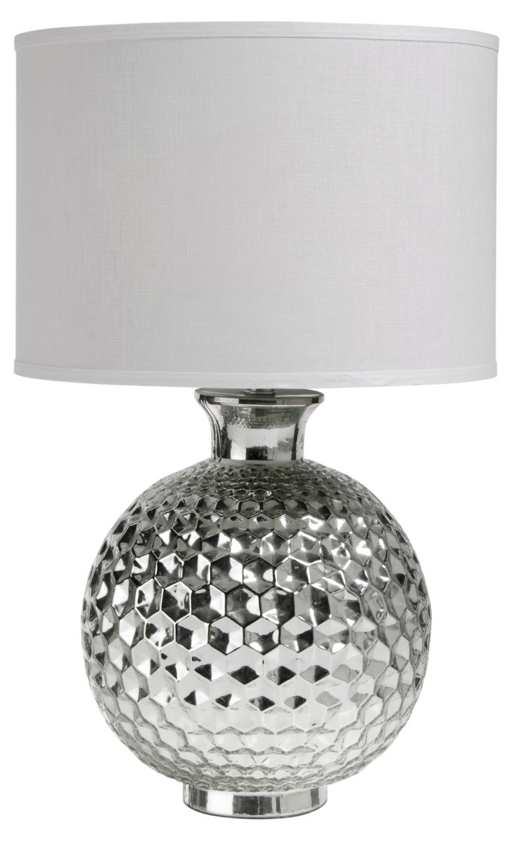 Hexagon Ball Table Lamp, Silver
