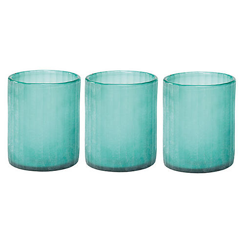 S/3 Sea-Glass Hurricanes, Blue