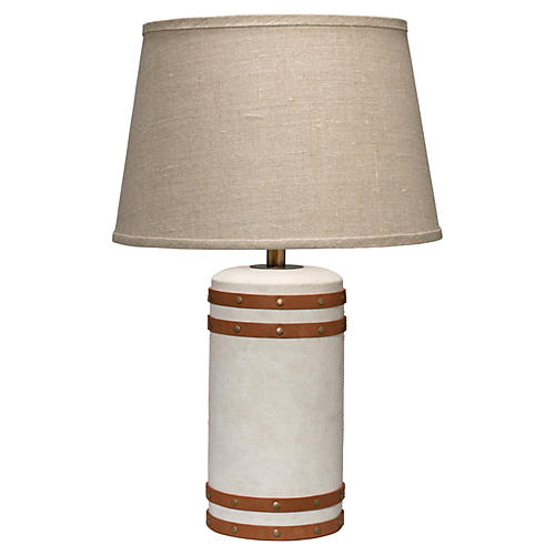 Canvas & Leather Table Lamp, Natural