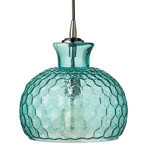 Clark 1-Light Pendant, Aqua