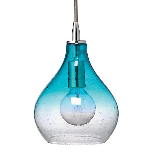 Curve 1-Light Pendant, Aqua