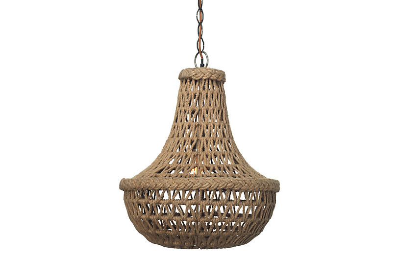 Macramé Jute Chandelier - Natural - Jamie Young
