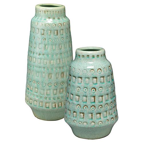 Asst. of 2 Coco Vases, Ocean