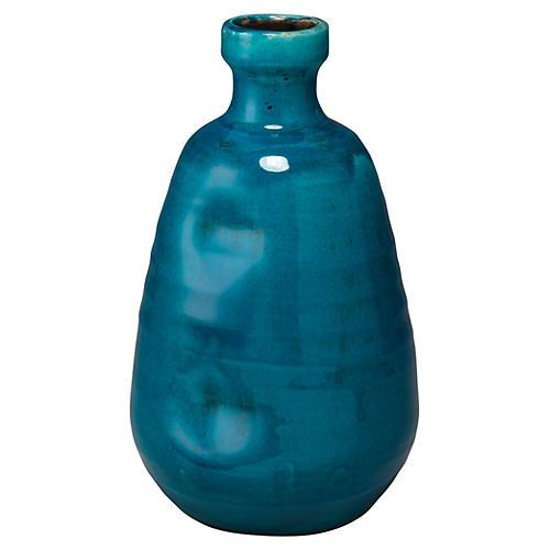 """14"""" Dimple Wide Vase, Cobalt"""
