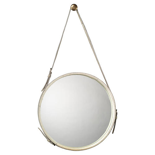 Strap Hanging Mirror, White Hide