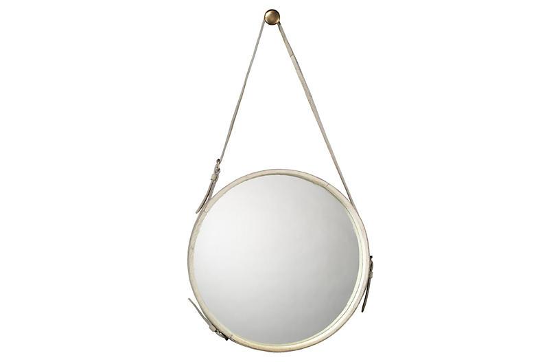 Strap Hanging Mirror, White Hide
