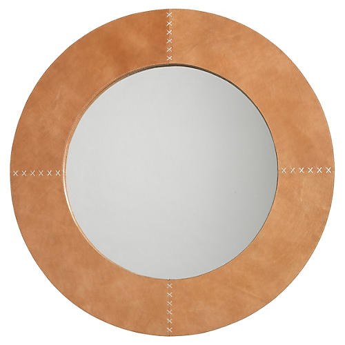Cross Stitch Mirror, Buffalo Leather