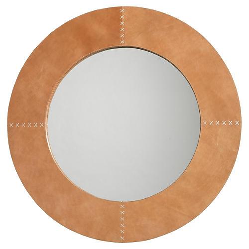 Cross Stitch Mirror, Buffalo Leather