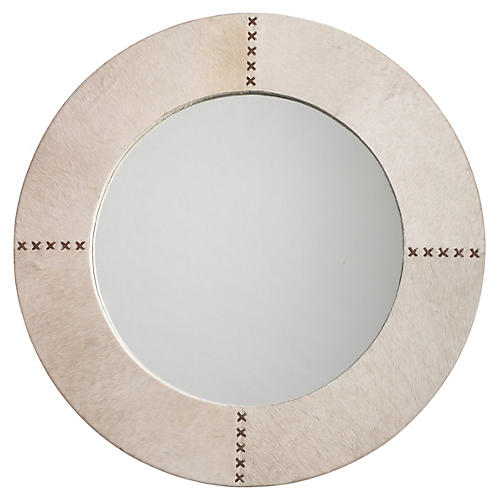 "Cross 36"" Stitch Wall Mirror, White Hide"