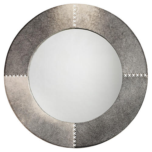 "Cross 36"" Stitch Wall Mirror, Gray Hide"