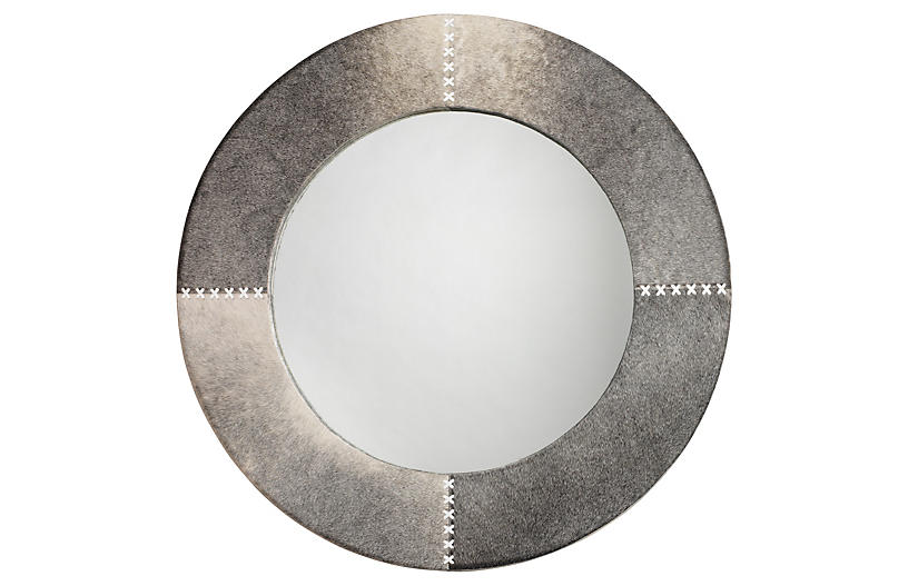 Cross Stitch Hide Wall Mirror, Gray