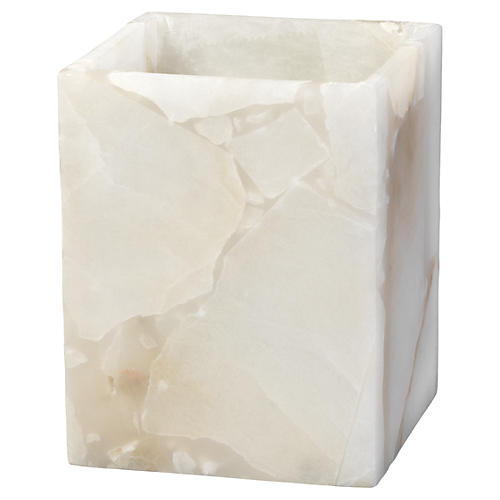 "6"" Savannah Square Alabaster Hurricane"