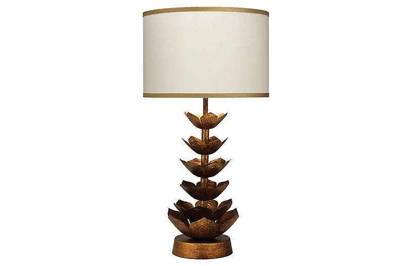 Flowering Lotus Table Lamp, Gold