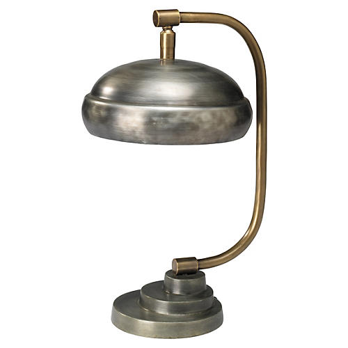 Large Steampunk Table Lamp, Gunmetal