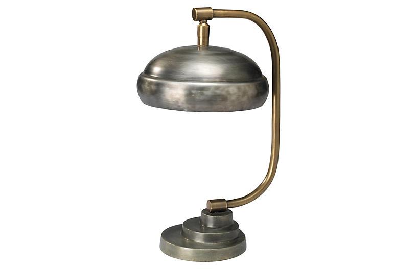 Large Steampunk Table Lamp, Gunmetal