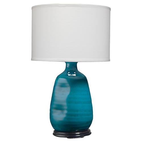 Dimple Vase Table Lamp, Cobalt