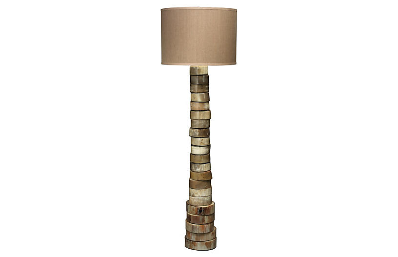 Stacked Horn Floor Lamp, Natural