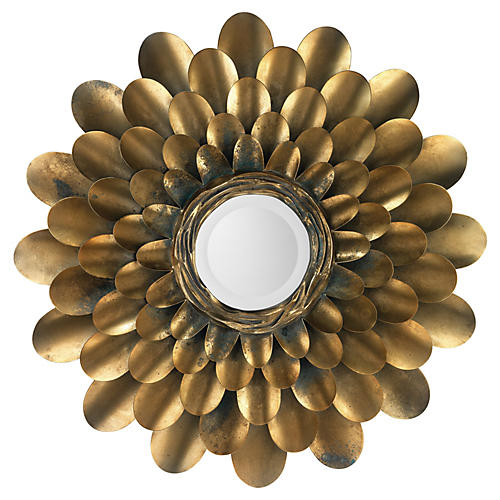 "Bouquet 36"" Wall Mirror, Antiqued Brass"